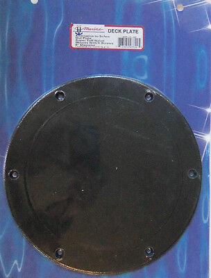"Deck Plate - 8"" Diameter - Black - Screw Mount - TH Marine - SDP-2-DP"