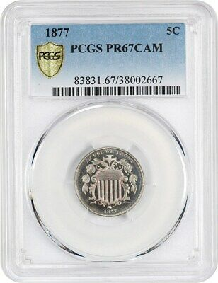 1877 5c PCGS PR 67 CAM - Scarce Proof-Only Issue - Shield Nickel