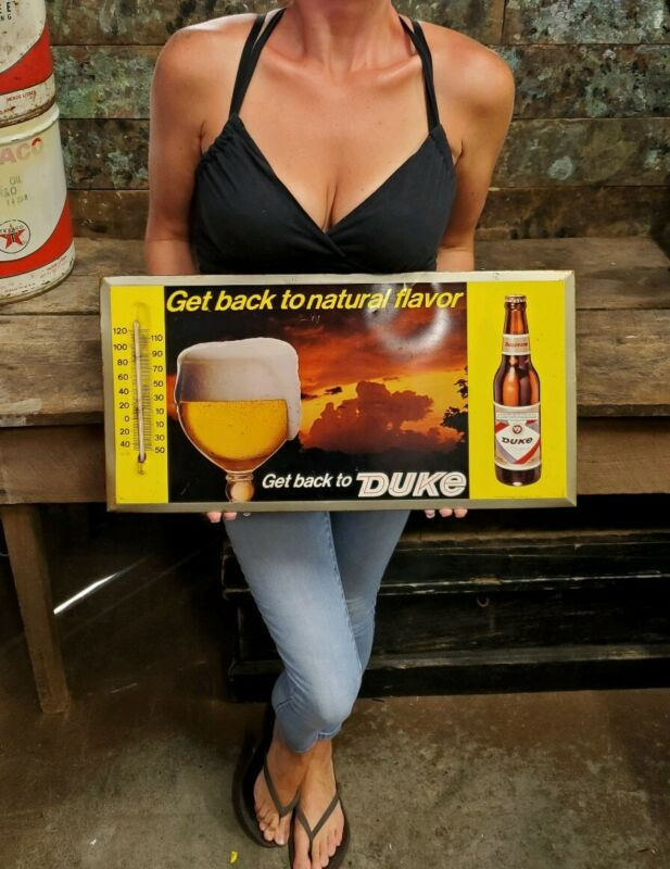 Vintage 1967 Masonite Easel Style Thermometer Duke Beer Sign Advertising