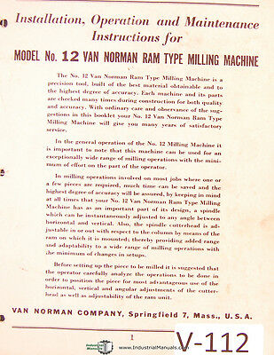 Van Norman 12 Milling Machine Install Operations Maintenance Parts Manual