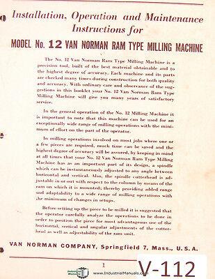 Van Norman 12 Milling Machine Install Operations Maintenance Parts Manual