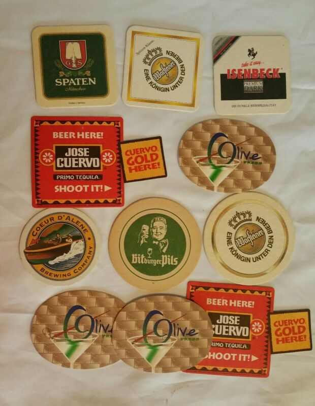 Lot of 11 Vintage Beer & Drink Coasters, 8 different - German Domestic Tequila