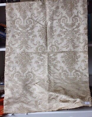 French Antique 19thC Lyon Silk Detailed Floral & Ribbons Jacquard Textile Fabric