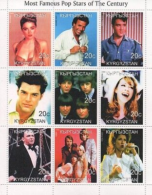 POP STARS OF THE CENTURY ELVIS BEATLES MADONNA ABBA SINATRA 1999 STAMP SHEETLET