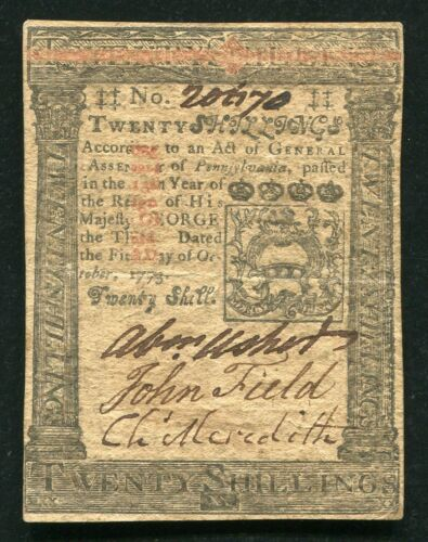 PA-169 OCTOBER 1, 1773 20s TWENTY SHILLINGS PENNSYLVANIA COLONIAL CURRENCY NOTE