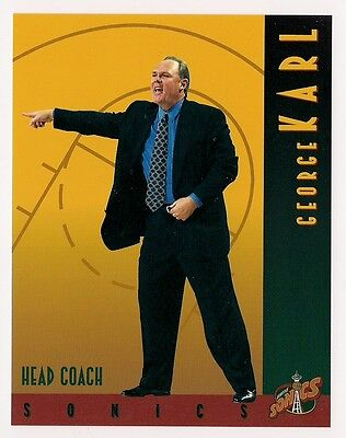 George Karl 1995 96 Seattle Sonics Team Card Over Sized 4 1 4 X 5 1 2