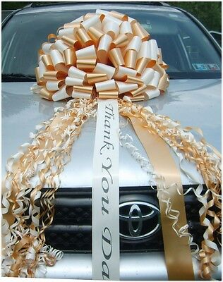Car Bow (Big Sweet 16 Car Bow - pick ribbon colors w/ FREE PRINT - USA)