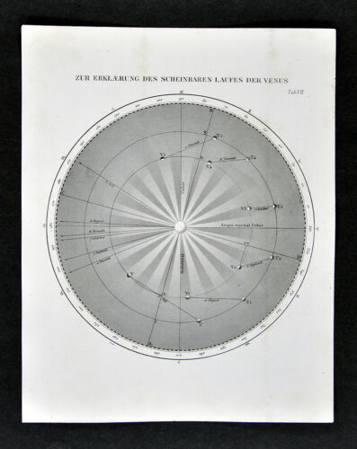 1872 Muller Astronomy Map Explanation for the Course of Venus Orbit Chart Sun
