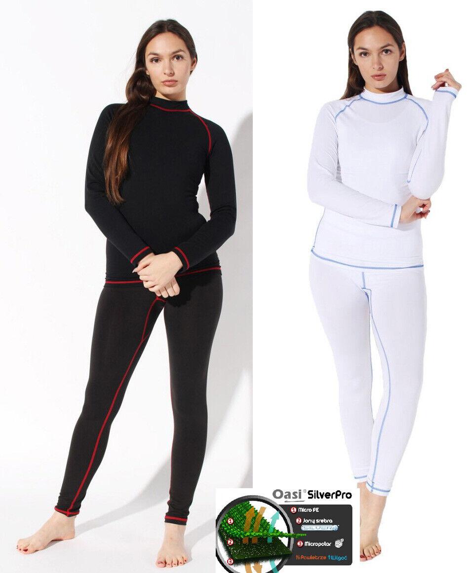 Damen Thermo Funktion Ski Unterwäsche Set ProSilber Skiunterwäsche Hemd Hose