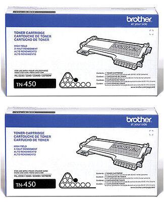 Genuine Brother Tn450 (tn-450) Black Toner Cartridge (2-p...