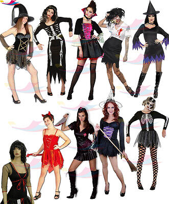 Halloween Costume Ladies Zombie Outfit Womens Skeleton lot Horror Night Party