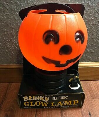 USA Blinky Halloween Jack O Lantern Glow Lamp Pumpkin