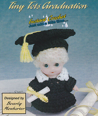 Crochet Pattern ~ TINY TOTS GRADUATION Doll Outfit, Gown & Cap ~ Instructions - Tiny Graduation Cap