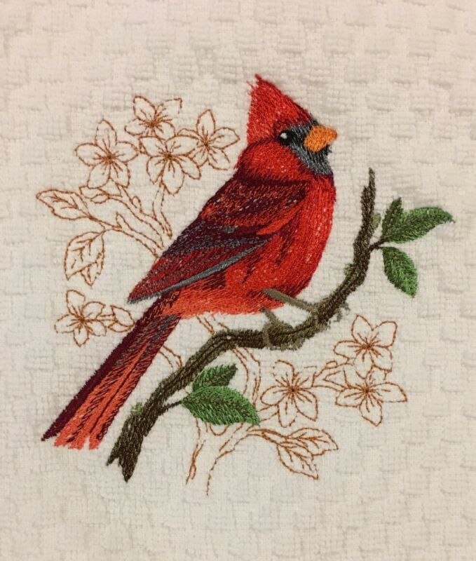 Red Cardinal Bird Embroidered White Kitchen Waffle Weave Terry Dish Hand Towel