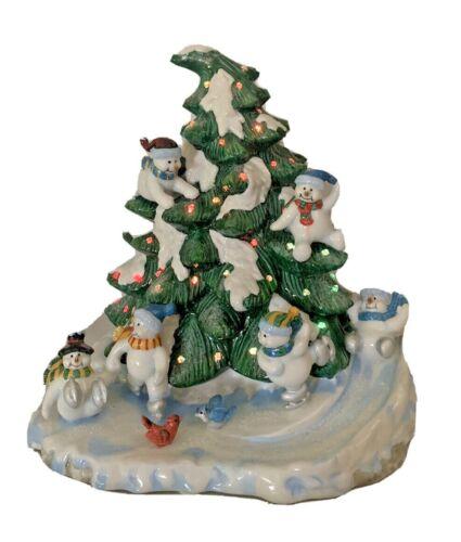 Home Interior Light up Christmas Tree Skating Snowman Light Up Holiday Ceramic