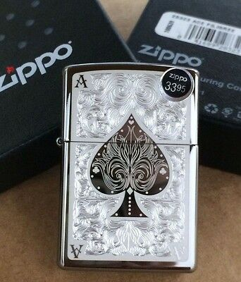 Zippo Black Ice Ace of Spades Filigree Windproof Lighter 28323 New In Box