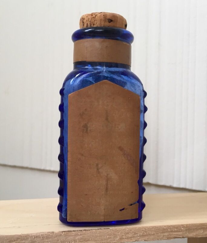 Vintage Cobalt Blue Triloids Poison Corked Triangular Glass Bottle Advertising