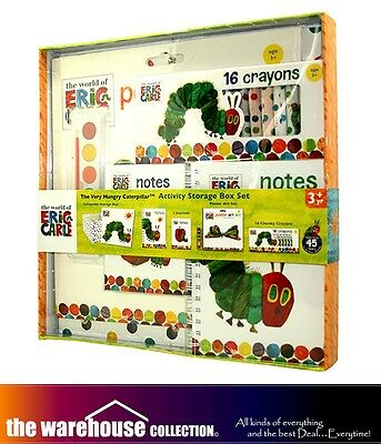 The Very Hungry Caterpillar Activity Storage Box Set Crayons Note Books - Crayon Box Note