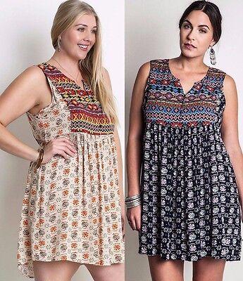 Plus Size Tribal Dress (Umgee Plus Size Western Baby Doll Tank Dress Tribal Sleeveless Shift)