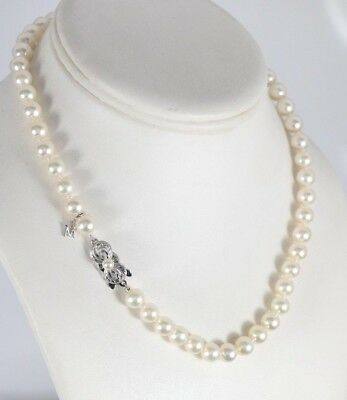 $3,910 Mikimoto 18K White Gold A Grade 7-7.5mm Akoya Pearl 16'' Strand Necklace