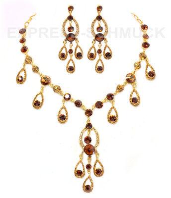 Großes Schmuckset Braun Ohrringe Collier Strass Indien Orientalisch Hochzeit Neu ()
