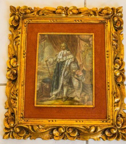 Large Vintage Hand Painted Oil Portrait France King Louis XVI French Revolution