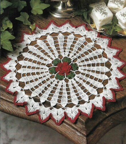 "CRIMSON ROSE DOILY 12"" DIAMETER DIGEST SIZE CROCHET PATTERN INSTRUCTIONS"