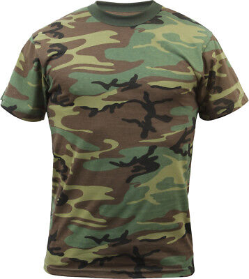 (Mens Woodland Camo Tactical T-Shirt Military Army Green Camouflage Short Sleeve)