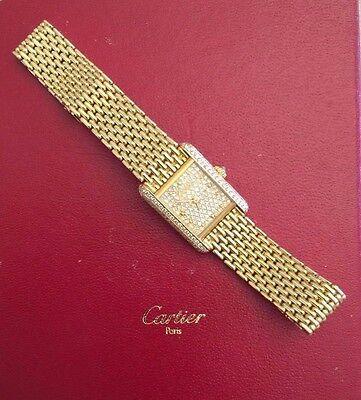 $9500.00 - 18K Yellow Gold Cartier Petite Women's Tank Watch W/ Diamonds MAKE AN OFFER