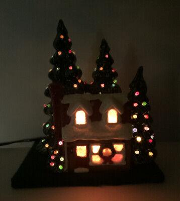Vintage Ceramic Light Up Christmas House And Christmas Tree's Decoration.