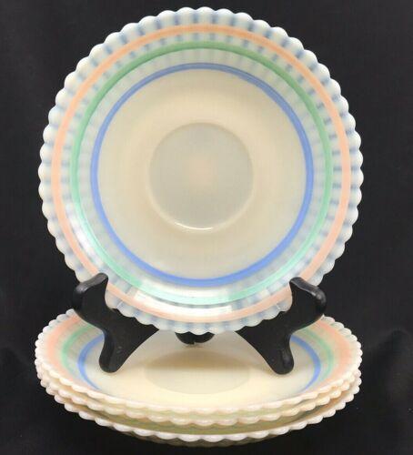 "Set of 4: Macbeth Evans Petalware Monax Cremax Pastel White Clear Saucers 6 3/4"""