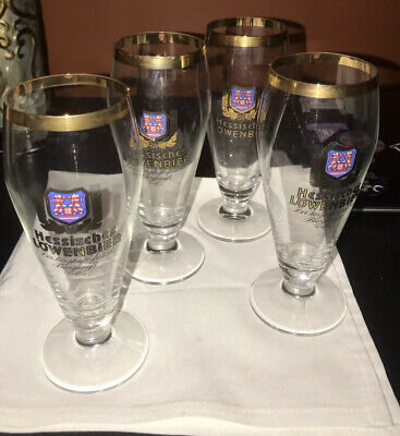 Vintage Hessisches Lowenbier Stemmed Beer  Glasses - Set Of 4