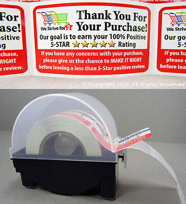 200 Amazon eBay etsy Thank You For Your Purchase Labels Stickers 2x3 & DISPENSER (Etsy Ebay)