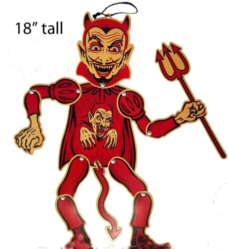 """awesome DEVIL wall hanging with movable joints , vintage inspired 18"""" Halloween"""