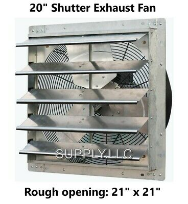 Commercial Wall Mount Shutter Exhaust Fan 20 Workshop Storage Garage Shed Barn