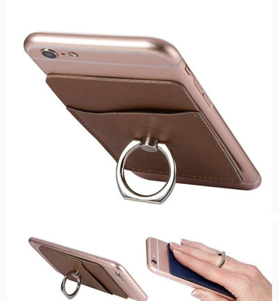 Universal Leather Credit Card Holder Cell Phone Wallet Pouch