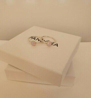 Pandora Pink Opal October Droplet Ring 191012NOP Size 48