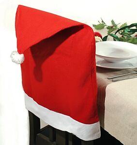 Stuhlhussen Stuhl Husse Weihnachtsmütze Weihnachtsdeko Weihnachten Stuhlüberzug