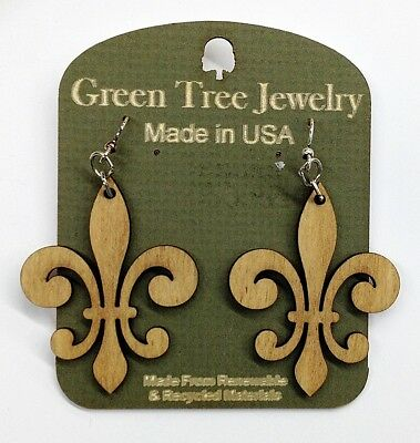 Earrings - Fleur de Lis Design - Lazer cut wood - Natural Wood Color  ()
