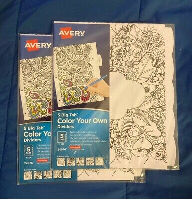 Avery Dividers 5 Big Tab X 10 Color Your Own New Index Binder 2 Sets Of 5 24976
