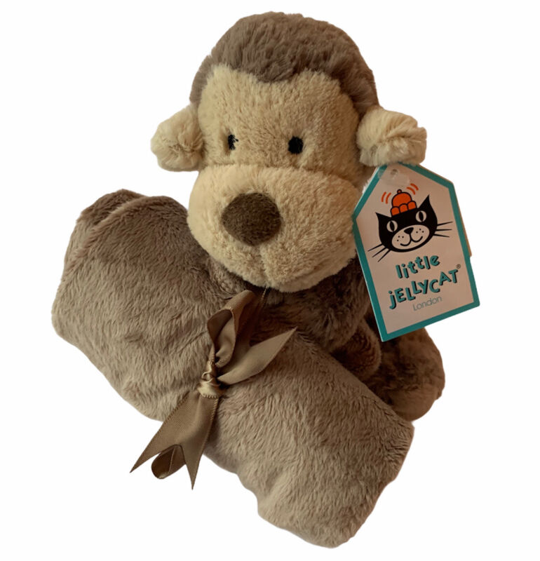 "Little Jellycat Bashful Monkey Soother Lovey Soft Security Blanket 12""x12"" NWT"