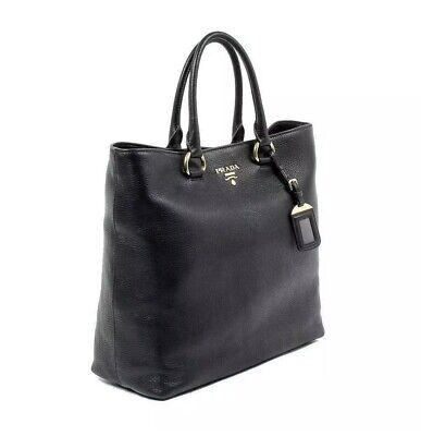 Prada Vitello Phenix Convertible Black Pebbled Leather