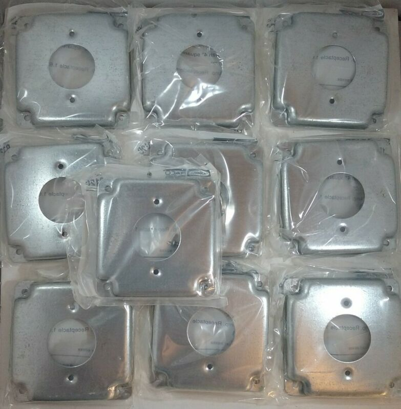 """LOT OF 10! HUBBELL RACO 812C 4"""" SQUARE EXPOSED WORK COVER FOR 20A RECEPTACLE"""