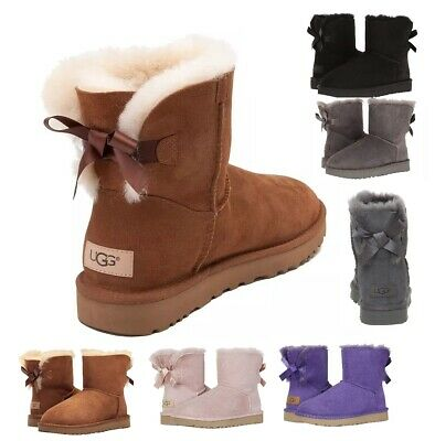 Authentic UGG Women's Shoes Mini Bailey Bow Boot Chestnut Black Grey Pink New Authentic Ugg Boots