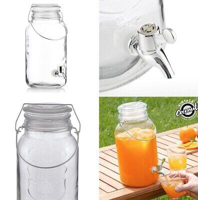 Dispensador de Bebidas 4 L vintage, vidrio, asa metalica,cóctel,sangria,refresco