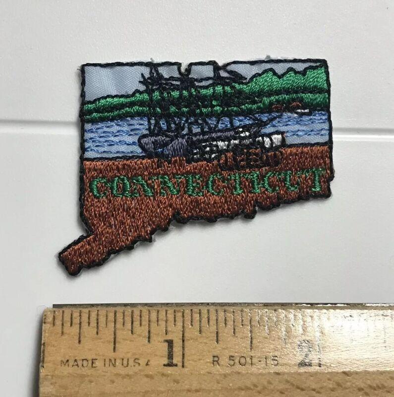 Connecticut State Outline Tall Sailing Ship CT Souvenir Patch Badge Emblem