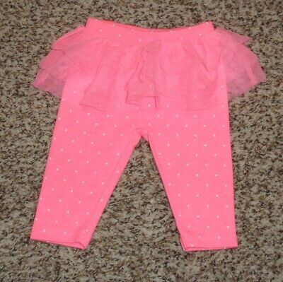Just One You Baby Girls Leggings Tulle Ruffle Hot Pink White Polka Dot NEWBORN - Hot Girls Leggings