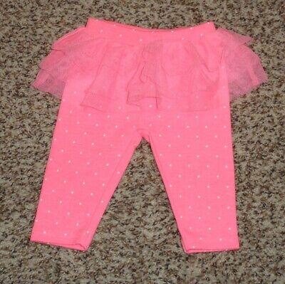 Just One You Baby Girls Leggings Tulle Ruffle Hot Pink White Polka Dot NEWBORN (Hot Girls Leggings)