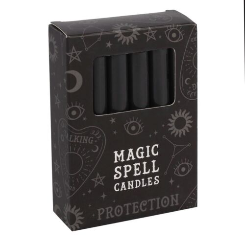 12 Black Protection Magic Spell Candles Ritual Alter Gothic Pagan Witch Wicca