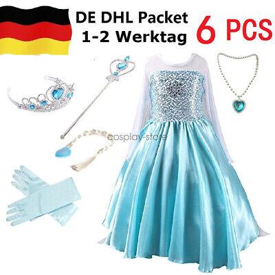 Prinzessin Kostüm Mädchen, Eiskönigin ELSA Kleid Weihnachten Karneval - Blaue Halloween Kostüme